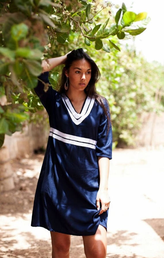Women's dress Navy Blue Maryam Summer Tunic Dress-Reina Style-bohemian dresses, women's dresses, bohemian, resortwear, holiday wear, gifts