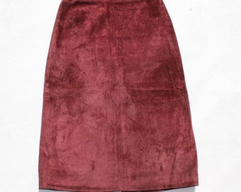 Vintage Deep Red 100% Real Leather Suede   High Waist Calf Length Straight Pencil Ladies Women's Skirt Size - UK 6 / UK 8 Made In Izrael