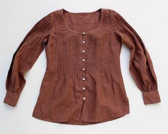 Vintage Brown 100% Linen MADELEINE Long Sleeve Smock Ladies Women's Shirt Top Tunic Blouse Size M / L