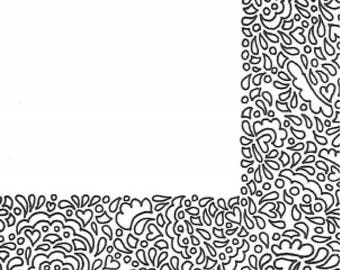 Abstract stationery printable and unlined coloring page style for pen pals and other snailmail correspondence fun