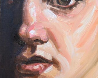 Just Before Our Kiss, oil on canvas panel, 8x10 inches by Kenney Mencher