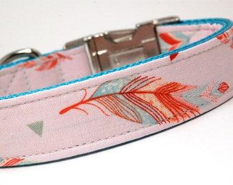 Handmade Dog Collar - Dream-Catcher Feathers in Pink - Native Dog Collar Custom Made - Chic Feathers - Modern Dog Collar
