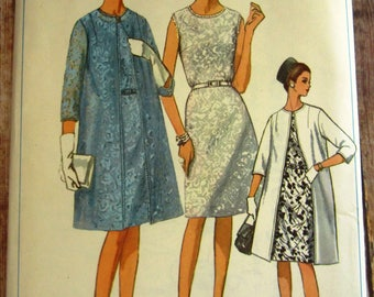 Vintage 1960s Womens Half-Size One-Piece Sleeveless Dress and Lined Coat Size 24-1/2 Simplicity Pattern 6387 UNCUT