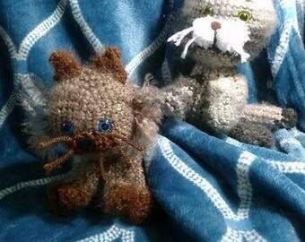 Crochet Fuzzy Kitty ANY colors you want READY To SHIP