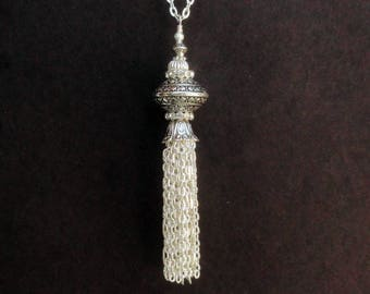 Silver Tassel Necklace, Long Tassel Necklace, Large Silver Beaded Tassel Necklace, Silver Tassel Pendant, Tassel Silver Necklace