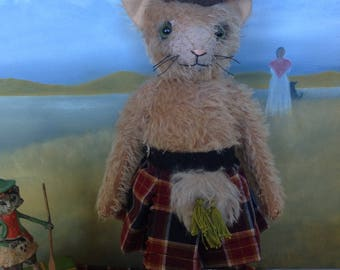 Hampton Bears, Fergus, antique style mohair jointed artist cat.