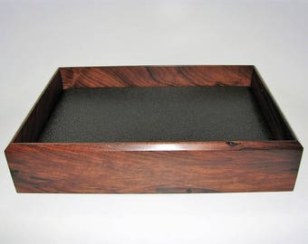 """Sophisticated Wooden Tray. Bolivian Rosewood Premium Valet Box. Leather Upholstered. 9.5"""" x 6.5"""" x 2"""". Watch Tray."""
