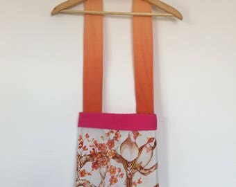 Cherry Tangerine Pop - Vintage blossom and bird print bag with ombre strap handmade from vintage fabrics