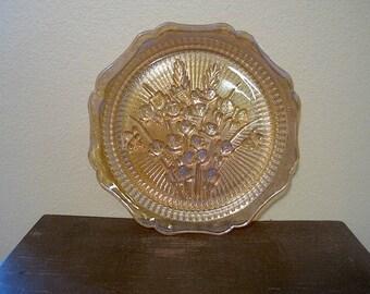 Iris & Herringbone Iridescent Dinner Plate - Jeannette Glass Co