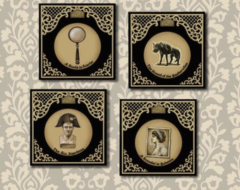 Sherlock Holmes Coasters, coaster Set, Cocktail Hour, Elementary, Literary Gift, Book Lover, Readers Gift, Book Club
