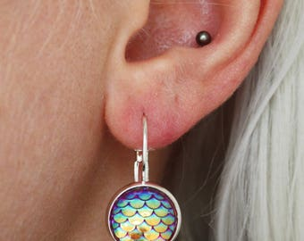 8 colors Mermaid drop earrings, silver plated Green teal blue purple pink yellow white opal mother of pearl shiny hot