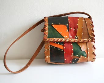70s Studded Patchwork Satchel