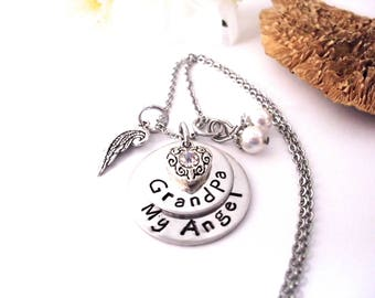 Grandpa Memorial, Grandpa Memorial Necklace, My Angel Grandpa, Grandpa Bereavement, Loss of Grandpa, Grandpa Loss