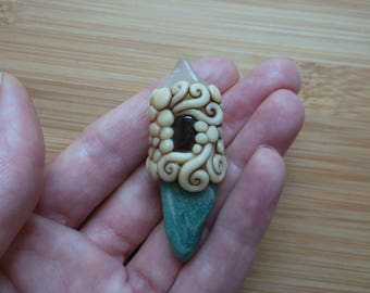 Amazonite, Garnet and Aquamarine Quartz Crystal and Clay Pendant