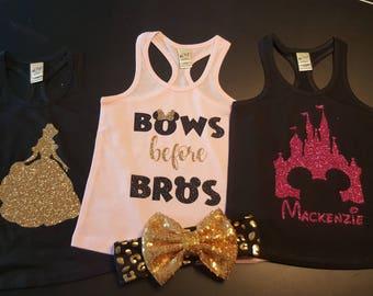 3 Pack Girls Disney Tanks Bows Before Bros, Personalized Castle, Princess Girls Baby Pink Racertank, Disney Infant, Toddler, Youth Tank