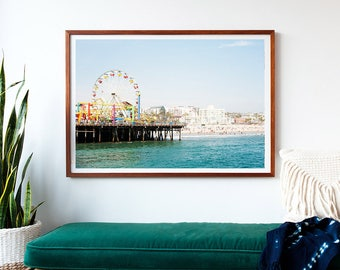 Santa Monica Pier Photograph, Los Angeles, Pacific Wheel, Santa Monica Beach, Beach Wall Art, California, Landscape, Large Wall Art