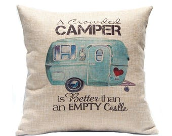 RV Decor - Crowded Camper Pillow Cover - RV Pillow - Happy Camper Gift - Travel Trailer Decor - Couples Gift - RV Accessories - Throw Pillow