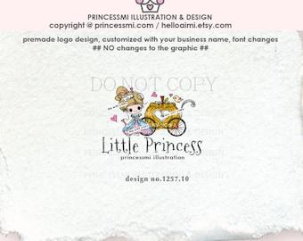 1257-10 PRINCESS Logo Design, Sketch Pumpkin Carriage logo, princess and pumpkin, girl boutique , kids business , party shop logo, cute