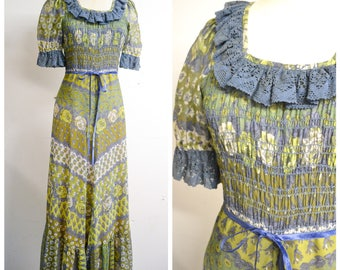 1970s Sage green & blue rose print smocked ruffle maxi dress / 70s printed floral full length gypsy prairie puff sleeve day dress / XS