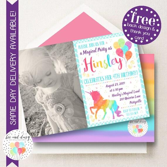 Unicorn Birthday Invitations Rainbow Invite Party Invitation Photo Printable