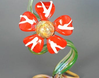 Tangerine Tango Glass Flower Sculpture - Lampwork Botanical Nature Decor - Garden Glass