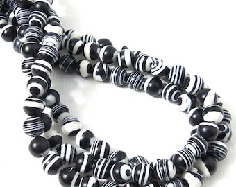 Black and White Bead, 6mm, Zebra Striped, Round, Smooth, Small, 16 Inch Strand - ID 2361