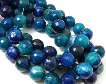 Fired Crackle Agate Bead, 14mm, Dark Blue/Aqua Blue/White, Multicolored, Round, Faceted, Gemstone Bead, Large, 14-14.5 Inch Strand - ID 2253