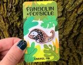 Pangolin + Popsicle Rose Gold Enamel Pin