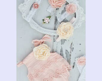Valentine's Day Boho Chic Blush Pink Lace Romper & Headband. Newborn Baby Girl Coming Home Outfit, 1st Birthday Outfit Summer Set Mommy me
