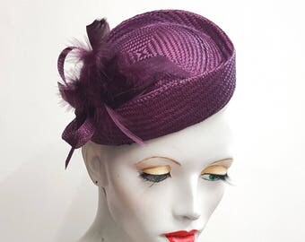 Plum cocktail hat percher fascinator with feathers hat vintage styling  elastic fixing wedding races