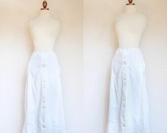 vintage Edwardian tennis leisure skirt   1910s antique white long lawn skirt   S