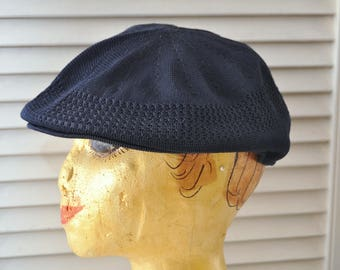 Vintage Navy Blue Golfers Cap Mens Womens 70s 60s Cool Mesh Weave Cloth Beret Sportswear Newsboy Costume Hat Flat Driving Cap Fabric