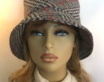 Womens Winter Hat, Bucket Hat, Womens Cloche Hat, Mens Bucket at-Black and White Plaid