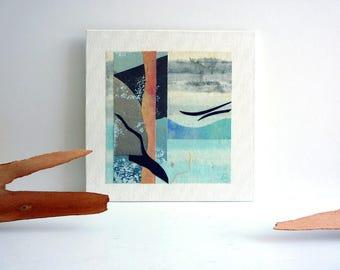 Beach art collage, 6 x 6 modern art, abstract wall art, collage art