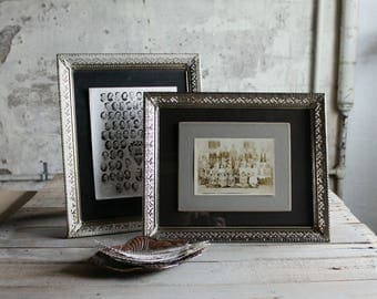 Vintage Filigree Metal Frame with Glass  / White /  Gold