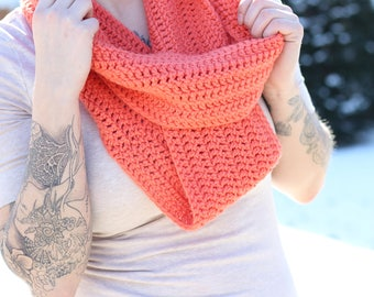 Coral Boho scarf; cozy accessories; knit scarf winter; chunky coral scarf; comfy scarf; coral knit scarf; boho accessories; bohemian scarf