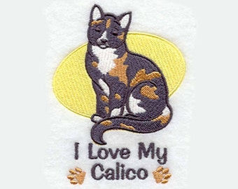 I Love My Calico Tea Towel | Cat Lover Gift | Embroidered Kitchen Towel | Personalized Kitchen Towel | Embroidered Towel | Cat Tea Towel