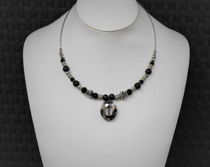 Beaded Necklace with Pendant, Black and Silver Beaded Necklaces for Women, Necklace Gifts, Jewelry Gift for Her, Black and Silver Jewelry