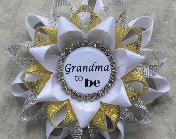 Twinkle Little Star Baby Shower Decorations, Baby Shower Pins, Baby Shower Ribbons, New Grandma Gift, Personalized, White, Silver, Gold