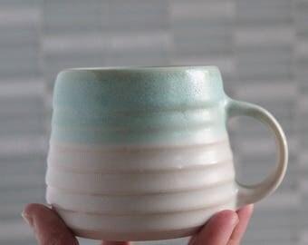 Groove Pottery Short Coffee Mug Porcelain