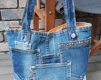 Tote bag cotton jeans upcycled