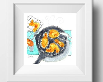 Cooking Decor/Cooking Watercolor Art/Farmhouse Art Print/
