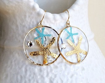 Tattoo Earrings, Gold Starfish Hoops, Temporary Tattoo Earrings, Resin Hoop Earrings, Mermaid Tattoo