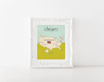 I Love You in the USA // Trendy Modern Nursery Decor, Baby Shower, Kids Room Art, United States Map Poster, Typography Print, Travel Theme