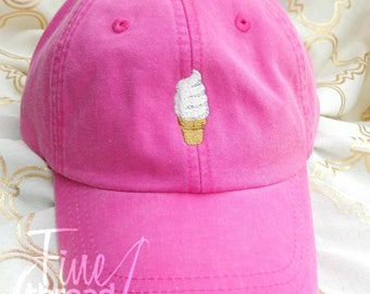 LADIES Ice Cream Cone Soft Serve Yogurt Baseball Cap Hat LEATHER strap Monogram Preppy Summer Bachelorette Pigment Dyed