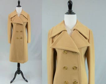 70s Brown Wool Coat - Double Breasted - Rosewin Label - Satin Lining - Nice Quality - Vintage 1970s - Size S