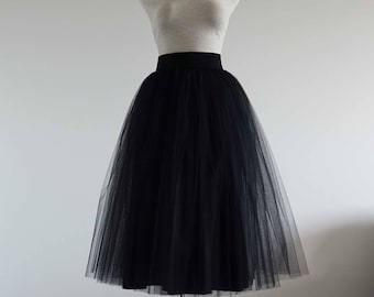 Tulle skirt .Black tulle skirt. Tea length tulle skirt. Woman tulle skirt. Tutu skirt woman.Tulle skirt women. Plus size tutu skirt.