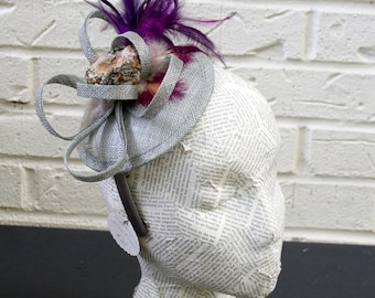 Hummingbird Ladies Fashion Hat:  Unique Nest on Purple and Silver Fascinator Base