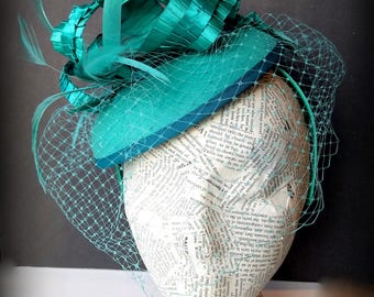 Aqua Satin Fashion Hat:  Turquoise Elegant Holiday Fascinator, Whimsy Design for Church or Gatsby