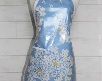 Womens Waterproof Apron Garden Apron Vintage Apron in Sky Blue with Flowers